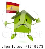 Clipart Of A 3d Unhappy Green Home Character Jumping And Holding A Spanish Flag Royalty Free Illustration