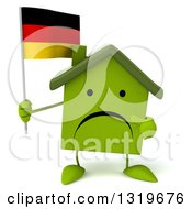 Clipart Of A 3d Unhappy Green Home Character Holding And Pointing To A German Flag Royalty Free Illustration