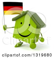 Clipart Of A 3d Happy Green Home Character Walking Slightly Left And Holding A German Flag Royalty Free Illustration