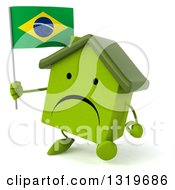 Clipart Of A 3d Unhappy Green Home Character Walking Slightly Left And Holding A Brazilian Flag Royalty Free Illustration