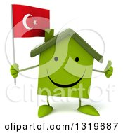 Clipart Of A 3d Happy Green Home Character Giving A Thumb Up And Holding A Turkish Flag Royalty Free Illustration