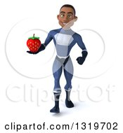 Clipart Of A 3d Young Black Male Super Hero Dark Blue Suit Walking And Holding A Strawberry Royalty Free Illustration