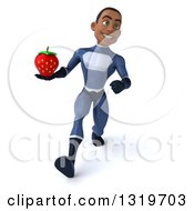 Clipart Of A 3d Young Black Male Super Hero Dark Blue Suit Speed Walking And Holding A Strawberry Royalty Free Illustration