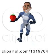Clipart Of A 3d Young Black Male Super Hero Dark Blue Suit Sprinting And Holding A Strawberry Royalty Free Illustration