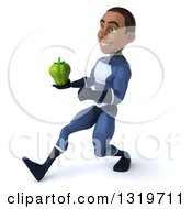 Clipart Of A 3d Young Black Male Super Hero Dark Blue Suit Speed Walking To The Left And Holding A Green Bell Pepper Royalty Free Illustration
