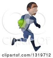 Clipart Of A 3d Young Black Male Super Hero Dark Blue Suit Sprinting To The Right And Holding A Green Bell Pepper Royalty Free Illustration