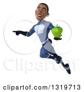 Clipart Of A 3d Young Black Male Super Hero Dark Blue Suit Flying Pointing And Holding A Green Bell Pepper Royalty Free Illustration
