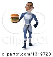 Clipart Of A 3d Young Black Male Super Hero Dark Blue Suit Walking And Holding A Double Cheeseburger Royalty Free Illustration