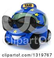 Clipart Of A 3d European Taxi Cab Character Wearing Shades And Facing Slightly Left Royalty Free Illustration by Julos
