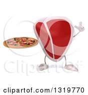 Clipart Of A 3d Beef Steak Character Holding Up A Finger And A Pizza Royalty Free Illustration