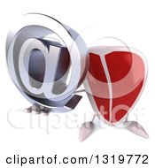 Clipart Of A 3d Beef Steak Character Holding Up An Email Arobase At Symbol Royalty Free Illustration