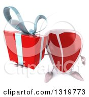 Clipart Of A 3d Beef Steak Character Holding Up A Gift Royalty Free Illustration