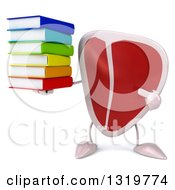 Clipart Of A 3d Beef Steak Character Holding And Pointing To A Stack Of Books Royalty Free Illustration