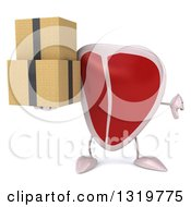 Clipart Of A 3d Beef Steak Character Giving A Thumb Down And Holding Boxes Royalty Free Illustration by Julos
