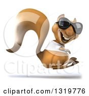 Clipart Of A 3d Casual Squirrel Wearing A White T Shirt And Sunglasses Hopping And Facing Right Royalty Free Illustration by Julos
