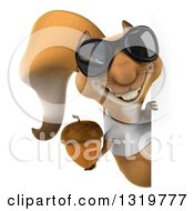 Clipart Of A 3d Casual Squirrel Wearing A White T Shirt And Sunglasses Holding An Acorn Around A Sign Royalty Free Illustration by Julos