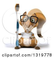 Clipart Of A 3d Bespectacled Casual Squirrel Wearing A White T Shirt And Holding A Giant Toothbrush Royalty Free Illustration