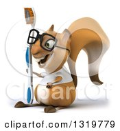 Clipart Of A 3d Bespectacled Casual Squirrel Wearing A White T Shirt Facing Left And Holding A Giant Toothbrush Royalty Free Illustration