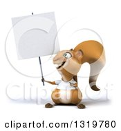 Clipart Of A 3d Casual Squirrel Wearing A White T Shirt And Holding Up A Blank Sign Royalty Free Illustration by Julos