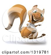 Clipart Of A 3d Casual Squirrel Wearing A White T Shirt Hopping And Pointing To The Right Royalty Free Illustration