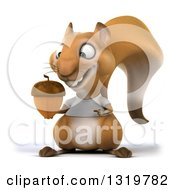 Clipart Of A 3d Casual Squirrel Wearing A White T Shirt Holding And Pointing To An Acorn Royalty Free Illustration by Julos