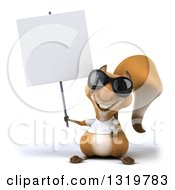 Clipart Of A 3d Casual Squirrel Wearing A White T Shirt And Sunglasses Holding Up A Blank Sign Royalty Free Illustration by Julos