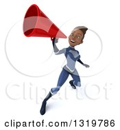 Clipart Of A 3d Young Black Female Super Hero In A Dark Blue Suit Announcing Upwards With A Megaphone Royalty Free Illustration by Julos