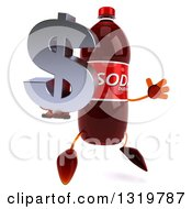 Clipart Of A 3d Soda Bottle Character Facing Right Jumping And Holding A Dollar Symbol Royalty Free Illustration