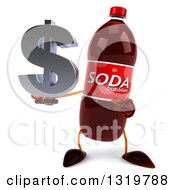 Clipart Of A 3d Soda Bottle Character Holding And Pointing To A Dollar Symbol Royalty Free Illustration