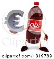Clipart Of A 3d Soda Bottle Character Holding A Euro Symbol Royalty Free Illustration