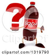 Clipart Of A 3d Soda Bottle Character Giving A Thumb Down And Holding A Question Mark Royalty Free Illustration