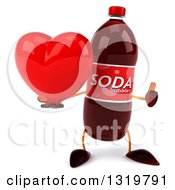 Clipart Of A 3d Soda Bottle Character Giving A Thumb Up And Holding A Heart Royalty Free Illustration