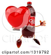 Clipart Of A 3d Soda Bottle Character Facing Right Jumping And Holding A Heart Royalty Free Illustration