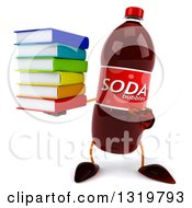 Clipart Of A 3d Soda Bottle Character Holding And Pointing To A Stack Of Books Royalty Free Illustration