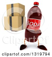 Clipart Of A 3d Soda Bottle Character Holding And Pointing To Boxes Royalty Free Illustration