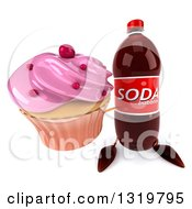 Clipart Of A 3d Soda Bottle Character Holding Up A Pink Frosted Cupcake Royalty Free Illustration