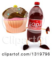 Clipart Of A 3d Soda Bottle Character Giving A Thumb Down And Holding A Chocolate Frosted Cupcake Royalty Free Illustration by Julos