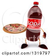 Clipart Of A 3d Soda Bottle Character Holding A Pizza Royalty Free Illustration