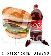 Clipart Of A 3d Soda Bottle Character Holding Up A Double Cheeseburger Royalty Free Illustration