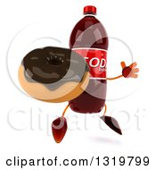 Clipart Of A 3d Soda Bottle Character Facing Right Jumping And Holding A Chocolate Glazed Donut Royalty Free Illustration