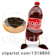 Clipart Of A 3d Soda Bottle Character Holding And Pointing To A Chocolate Glazed Donut Royalty Free Illustration