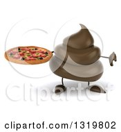 Clipart Of A 3d Milk Chocolate Or Poop Character Holding A Pizza And Giving A Thumb Down Royalty Free Illustration by Julos