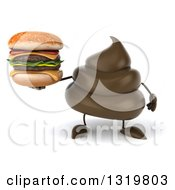 Clipart Of A 3d Milk Chocolate Or Poop Character Holding A Double Cheeseburger Royalty Free Illustration by Julos