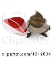 Clipart Of A 3d Milk Chocolate Or Poop Character Holding Up A Beef Steak Royalty Free Illustration by Julos