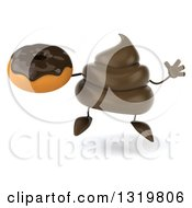 Clipart Of A 3d Milk Chocolate Or Poop Character Jumping And Holding A Donut Royalty Free Illustration by Julos