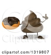 Clipart Of A 3d Milk Chocolate Or Poop Character Holding Up A Finger And A Donut Royalty Free Illustration by Julos