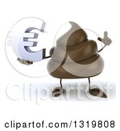 Clipart Of A 3d Milk Chocolate Or Poop Character Holding Up A Finger And Euro Symbol Royalty Free Illustration by Julos