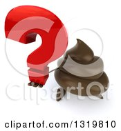 Clipart Of A 3d Milk Chocolate Or Poop Character Holding Up A Question Mark Royalty Free Illustration by Julos