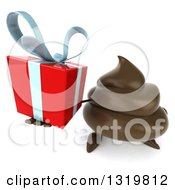 Clipart Of A 3d Milk Chocolate Or Poop Character Holding Up A Gift Royalty Free Illustration by Julos