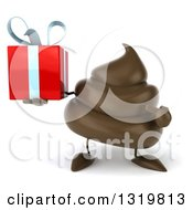 Clipart Of A 3d Milk Chocolate Or Poop Character Holding And Pointing To A Gift Royalty Free Illustration by Julos